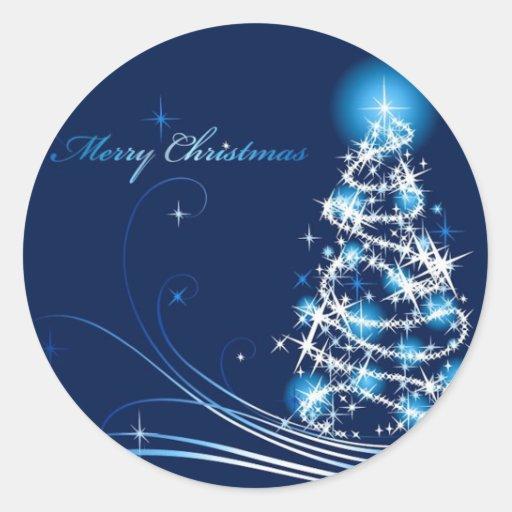 Feliz árbol de navidad pegatina redonda