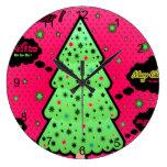 Feliz árbol de navidad reloj de pared