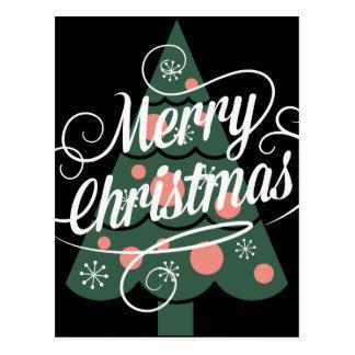 Feliz árbol de navidad retro postales