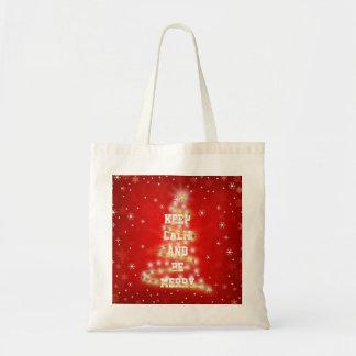 Feliz árbol de navidad rojo decorativo bolsa tela barata