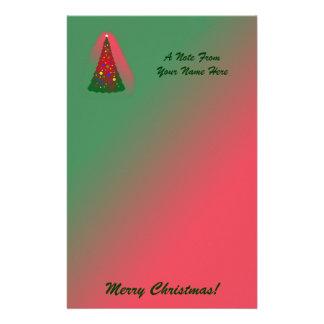 Feliz árbol de navidad rojo y verde papelería