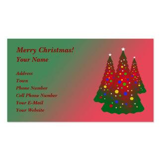 Feliz árbol de navidad rojo y verde tarjetas de visita