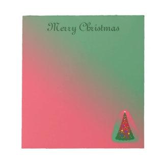 Feliz árbol de navidad verde rojo bloc de notas