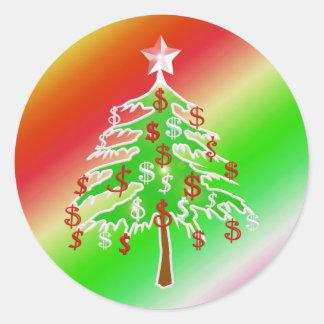 Feliz árbol del dinero etiquetas redondas