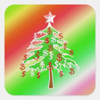 Feliz árbol del dinero calcomanía cuadradas personalizadas