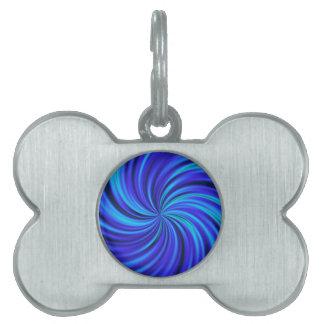 Feliz, azul (c) placas de nombre de mascota