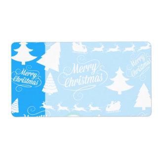 Feliz azul del trullo del reno de Santa de los árb Etiqueta De Envío