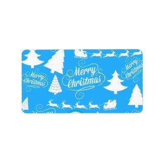 Feliz azul del trullo del reno de Santa de los árb Etiquetas De Dirección