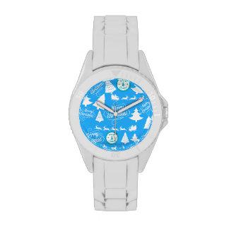 Feliz azul del trullo del reno de Santa de los árb Reloj De Mano