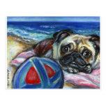 Feliz barro amasado en la playa tarjeta postal