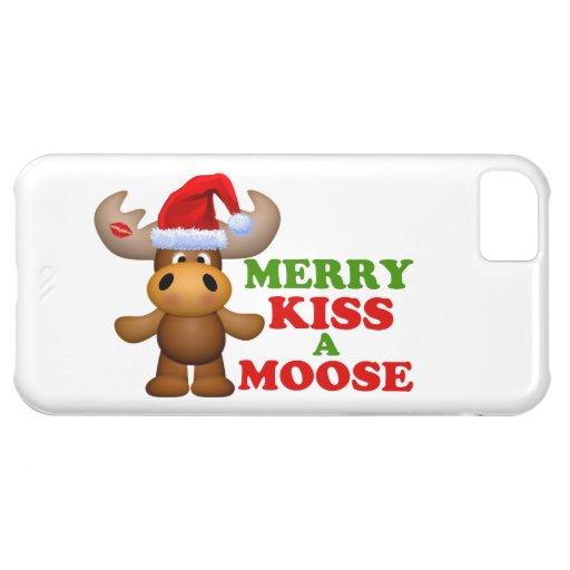 Feliz beso lindo navidad de un alce funda para iPhone 5C