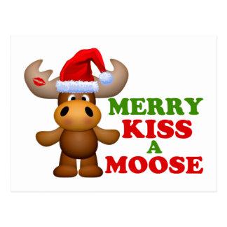 Feliz beso lindo navidad de un alce postal
