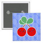 Feliz botón de Kawaii de las cerezas Pins