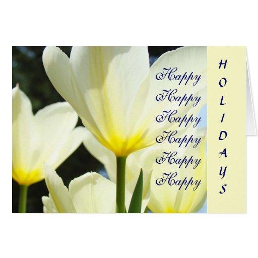 ¡Feliz buenas fiestas! Flores amarillas blancas Tarjeta De Felicitación