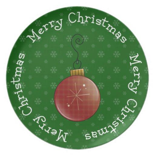 Feliz bulbo de las Felices Navidad Plato