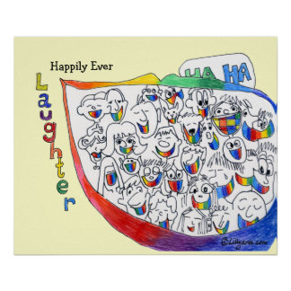 Feliz cada poster del dibujo animado de la risa