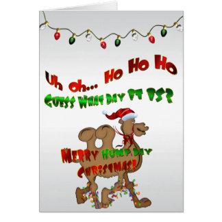 Feliz camello del navidad del día de chepa HO HO H Tarjeta