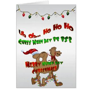Feliz camello HO HO HO 2 del navidad del día de Tarjeta De Felicitación