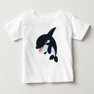 Feliz camiseta linda del bebé de la orca del poleras