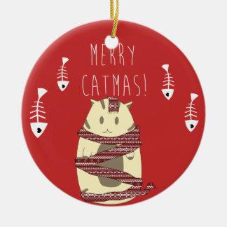 ¡Feliz Catmas! Ornamento del árbol del gato del Adorno Navideño Redondo De Cerámica