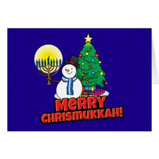 Feliz Chrismukkah azul judío y navidad Tarjeta De Felicitación