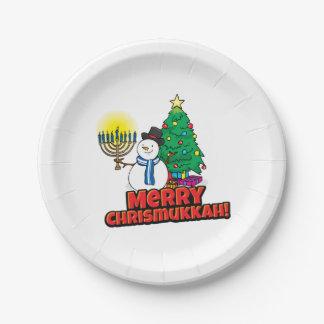 Feliz Chrismukkah con el muñeco de nieve y Menorah Platos De Papel