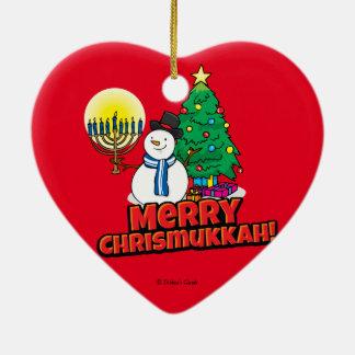 Feliz Chrismukkah rojo con el muñeco de nieve y Adorno Navideño De Cerámica En Forma De Corazón