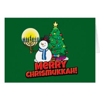 Feliz Chrismukkah verde judío y navidad Tarjeta De Felicitación