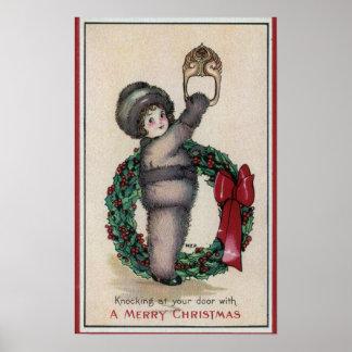 Feliz ChristmasKid que golpea con una guirnalda Poster