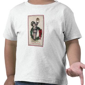 Feliz ChristmasKid que golpea con una guirnalda Camisetas