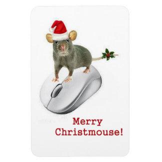 """""""Feliz Christmouse!"""" chirría un ratón de campo Imán Rectangular"""