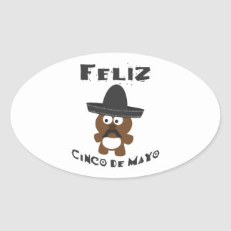 Feliz Cinco de Mayo - Bear Oval Sticker