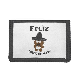 Feliz Cinco De Mayo Bear Tri-fold Wallets