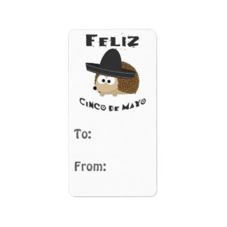 Feliz Cinco De Mayo Hedgehog Label