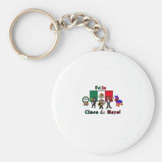 Feliz Cinco de Mayo! Holiday Cartoon Illustration Keychain