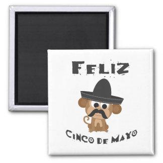 Feliz cinco de Mayo - Monkey 2 Inch Square Magnet