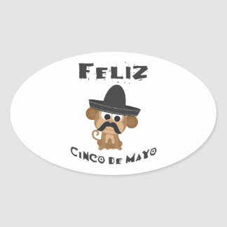 Feliz cinco de Mayo - Monkey Oval Sticker