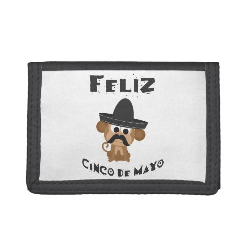 Feliz Cinco De Mayo Monkey Trifold Wallet