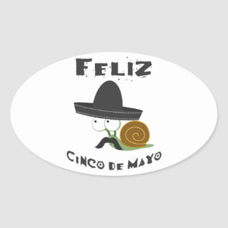 Feliz Cinco De Mayo - Snail Oval Sticker