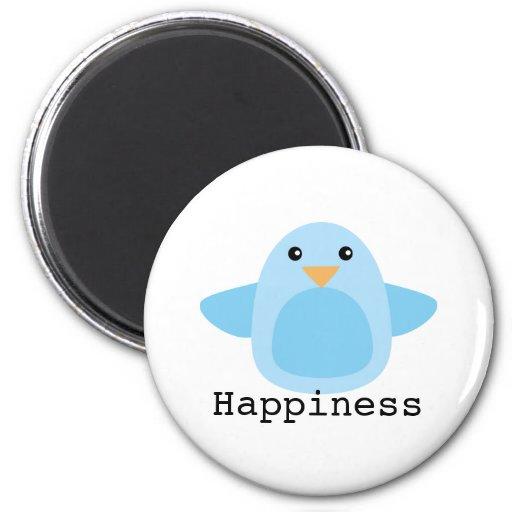 Feliz como Bluebird Imán Redondo 5 Cm