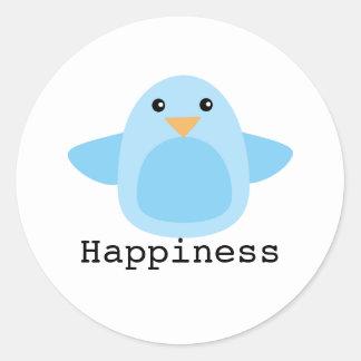 Feliz como Bluebird Pegatina Redonda