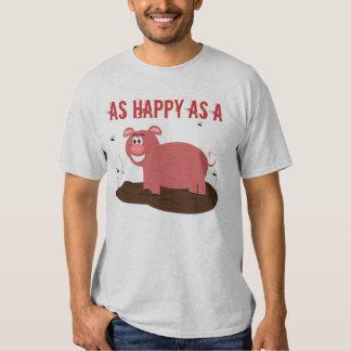 Feliz como cerdo en abono playeras