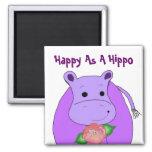 Feliz como hipopótamo iman para frigorífico