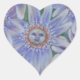 Feliz como una flor pegatina en forma de corazón