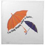 Feliz cuando llueve servilleta imprimida