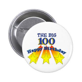 Feliz cumpleaños 100 grandes pin redondo de 2 pulgadas