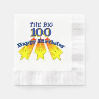 Feliz cumpleaños 100 grandes servilletas desechables