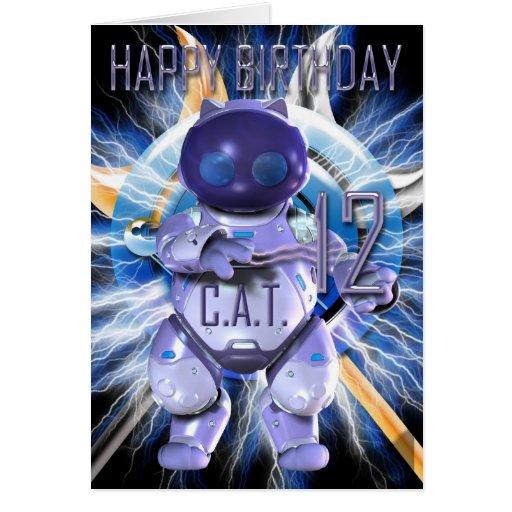 Feliz cumpleaños 12mo, gato del robot, Techno Tarjetas