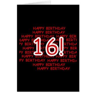 Feliz cumpleaños 16 tarjeta de felicitación