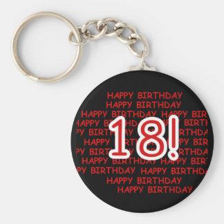 Feliz cumpleaños 18 llavero redondo tipo pin